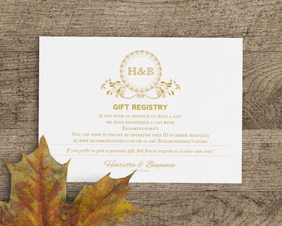 Wedding Gift Card Registry: Printable Wedding Gift Registry Card Template In Classic Gold