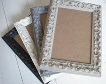 """White Photo frame ornate picture frame 4x6"""" . 10 x 15cm SOLID WOOD home decor Wedding Frame painted frames handmade solidwoodshop"""
