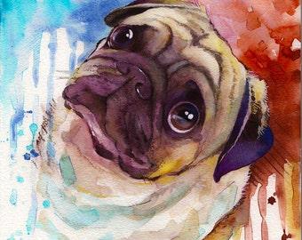 Custom Pet Portrait Watercolor Painting -Custom pet portrait Original watercolor Painting, Pet portrait dog portrait Custom portrait