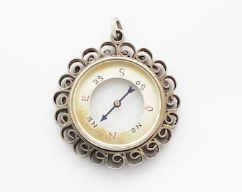 1900s Antique French Transparent Compass Charm