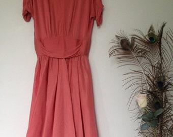 VIntage 1950s coral evening dress