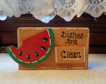 WATERMELON DISHWASHER Clean Dirty SIGN Countertop Freestanding Or Wall Hang Kitchen