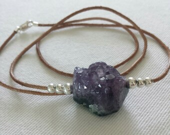 Druzy amethyst, and sterling silver pendant necklace.