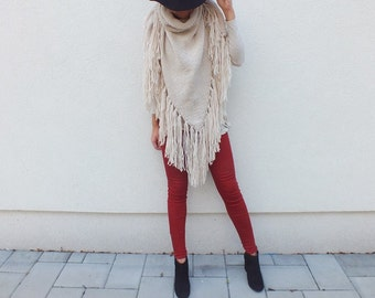 Oversized wool scarf / Triangle fringe scarf / Fringed Scarf / Poncho with Fringe / Hippie Wrap