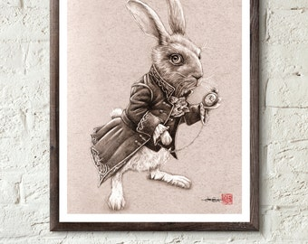White Rabbit from Tim Burton's Alice in Wonderland  - Illustrated Giclee Print