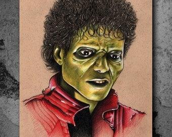 Thriller - Michael Jackson Illustrated Giclee Print