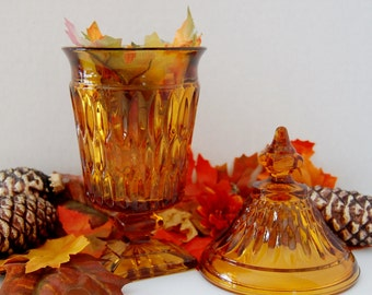 Amber Covered Candy Dish..Apothecary Jar Style.. by the Indiana Glass Co.