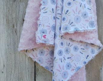 Baby girl dream catcher blanket - southwestern baby girl blanket- baby shower gift - minky baby blanket