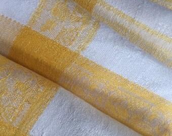 DAMASK Cotton Napkins Off-White Golden Yellow Rose Decor Set of Four Vintage Elegant Dining