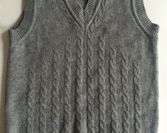 Vintage GREY LAMBSWOOL Sears Sweater Vest | Cable Knit Front | Made in Hong Kong | Size Medium