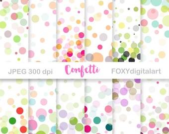 """Confetti Digital Paper Set, """"Throw Some Confetti"""" Digital Paper Collection, Confetti Party Polka Dots Multicolor, Wedding Confetti, PNG"""