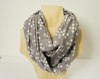 OZ SELLER! Infinity Scarf Cotton Jersey, Grey and White Triangles
