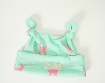 Mint and Pink Deer Knot Beanie 0-3m 3-6m 6-9m