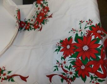 Vintage Christmas Linen Tablecloth Featuring Poinsettias Rectangle 55X70