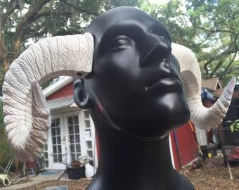 """Ram Horns, """"Pale Empress"""" wearable rugged Pan/Satyr Horns"""