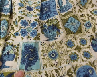 Mid Century Pinch Pleat Blue Avocado Green Floral Kitchen Dining Room Curtain Drapes