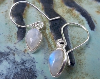 Small Rainbow Moonstone Teardrops Set In 925 Sterling Silver Earrings With Handmade 935 Argentium Sterling Silver Ear Wires