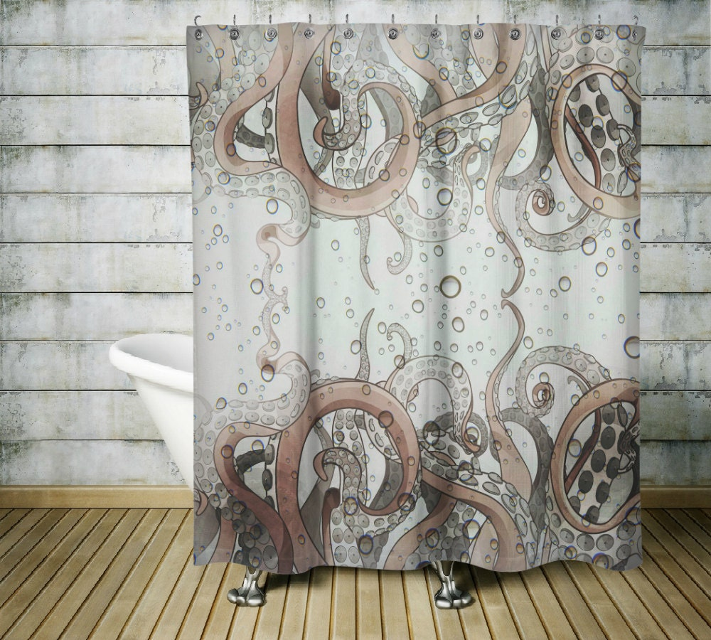 Octopus tentacle shower curtain gray and tan for Tentacle shower curtain