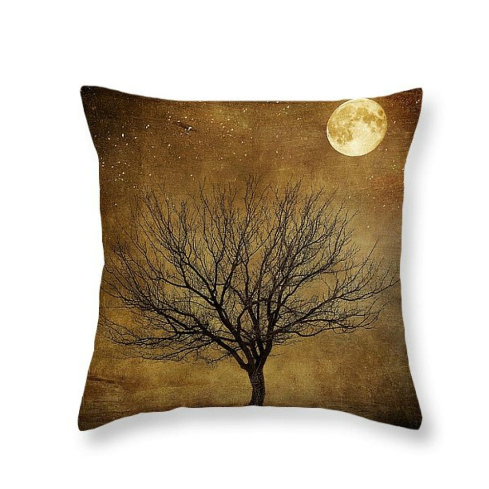 Primitive Grunge Moon and Tree Throw Pillow Decorative Pillows