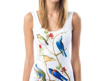 Blue Birds - Digital Printed One Piece Swimsuit /Classic Cut/ Birds/Nature/Beachwear/White/Trendy/Comfortable/Eye-catching/Elegant/Bright