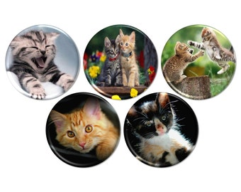 Kitten Pinback Buttons, Cat Buttons or Magnets, Kitty Cat Magnets, Pet Rescue Party Favors, Cat Birthday, Pet Refrigerator Magnets - BB2138