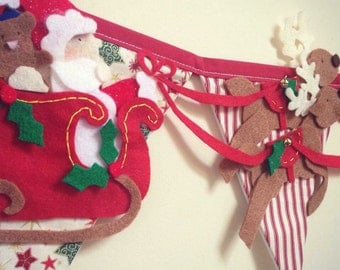 Father Christmas and his reindeer bunting decoration