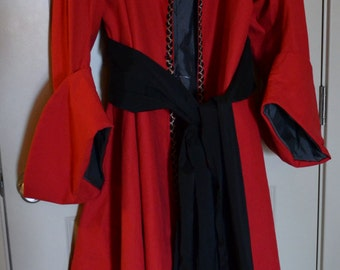 2X/ 3X Captain Hook Pirate Coat, Black Beard, Pirate Coat, Red Pirate Coat,