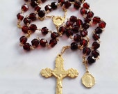 Rosary - Saint Mary Magdalene French Vintage Ruby Glass - 18K Gold Vermeil