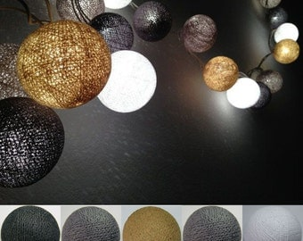 Mix Dark color tone Cotton Ball String Lights Fairy lights Party Decor Wedding