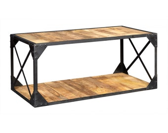 Bonsoni Ashoka Industrial Coffee Table Made From Up-Cycled Reclaimed Metal And Solid Wood