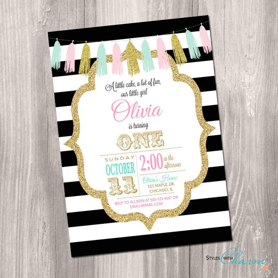 First Birthday Party In A Box In Gold Mint And Pink: 1st Birthday Invitation Black And White Pink Gold Mint