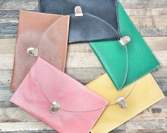 Monogrammed Scallop Clutch - Vegan Leather Clutch - Girlfriend Holiday Gift - Monogram Flap Clutch - Bridesmaids Gift