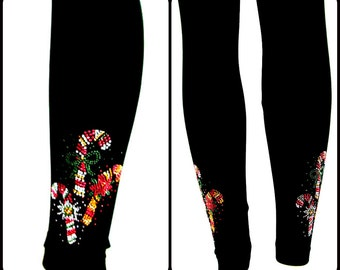 Regular Size Capri Length Leggings Embellished Candy Cane Trio Design