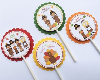 Set of 12 Thanksgiving Cupcake Toppers, Happy Thanksgiving, Thanksgiving Decor, Thanksgiving Party, Thanksgiving Feast, Thanksgiving Dinner