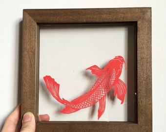 Handcut Koi in a Clear Wooden Frame