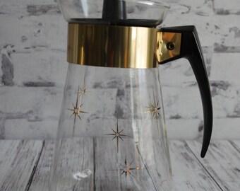 Pyrex Coffee Pot, Vintage Six Cup Corning Pyrex Atomic Starburst Coffee Carafe