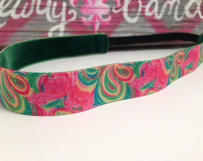 Nonslip Headband Neon Lilly Swirls