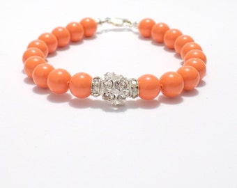 Bracelets, coral bracelet, swarovski pearl bracelet, swarovski coral bracelet, pearl and rhinestone jewelry, bridal bracelets, Bracelet