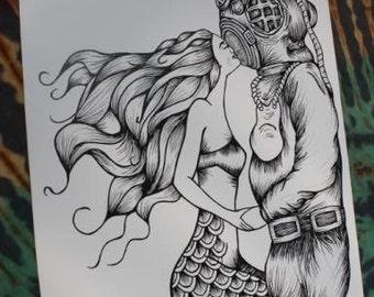 Diver mermaid drawing print