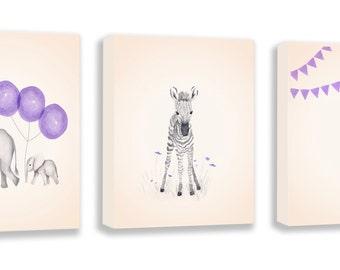 Girls Room Decor, Nursery Wall Art, Elephant Wall Art, Zebra, Giraffe, Limited Edition Set of Three Gallery Wrapped Canvases - SO66BC