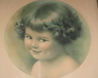 """Bessie Gutman child""""s print original mischief framed 1924"""
