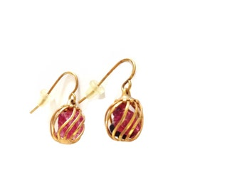 Tourmaline Crystal Gold Plated Cage Dangle Earrings