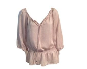 Silk-Like Muted Pink Gathered Blouse - Size Large