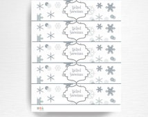Melted Snowman Birthday Party Water Bottle Labels Instant Download Silver Grey Winter Wonderland