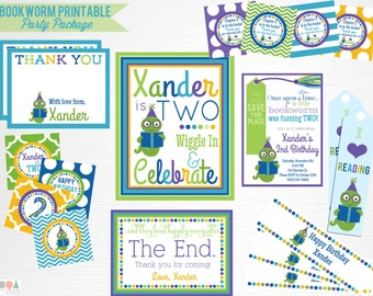 Bookworm Birthday Party Package YOU PRINT