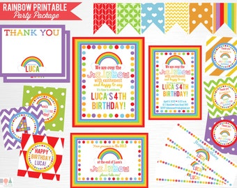 Rainbow Birthday Party Package YOU PRINT Girl Rainbow Party Decorations