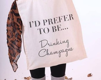 Prefer To Be Tote Bag||drinking champagne||book club||