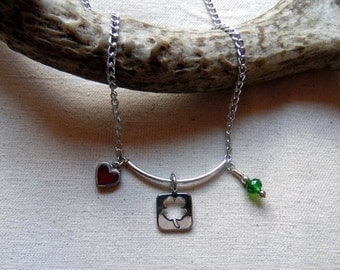4H Necklace, Clover Charm Necklace, Lucky Clover Necklace, 4H Gift, Four Leaf Clover Necklace, Lucky Clover, 4H Jewelry, Clover Charm,4H Mom