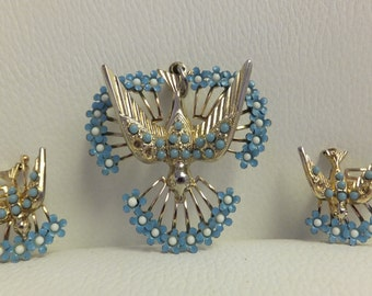 Vintage Bird and Flower Pendant with Earrings