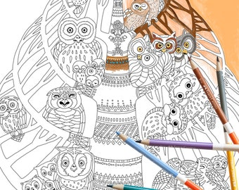 Coloring Page INSTANT DOWNLOAD Owl Tree